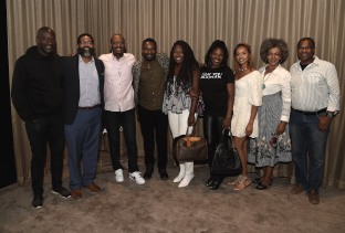 "LOS ANGELES, CA - AUGUST 16: Akin Omotoso, Jamil Smith, Charles King, David Oyelowo, Stacey King, Edwina Findley, Amber Rasberry, Debra Langford, and Dwayne Johnson Cochran at the Ava Duvernay Hosted Special Screening of the Blumhouse film ""Don't Let Go"" at the Amanda Theater at Array Creative Campus on August 16, 2019 in Los Angeles, California. (Photo by Scott Kirkland/Blumhouse/PictureGroup)"